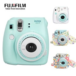 Color Leather Bags Australia - Instax Mini 9 Camera Patchwork Color Instant Photo Film With Floral Printing PU Leather Camera Shoulder Strap Bag Case
