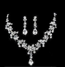 $enCountryForm.capitalKeyWord Australia - 4 Set Bridal Wedding Jewelry Necklace Earrings Set Wedding Jewelry Hot Sale Cheap Wedding Bridal Accessories 4color