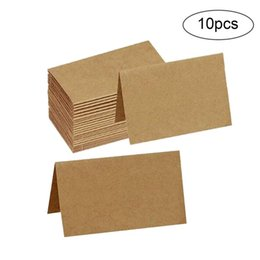 prices wedding invitation cards UK - 10Pcs Brown Kraft Paper Tags Postcard Greeting Gift Card Note Wedding Seat Card Invitations Cards Blank Price Hang Tag #2
