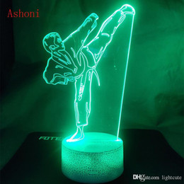 kids art tables UK - Remote 16 Colors Creative Karate Shap Table Lamp USB 3D LED Taekwondo Night Light Bedroom Bedside Martial Art Vision Lighting Kids Gifts Toy