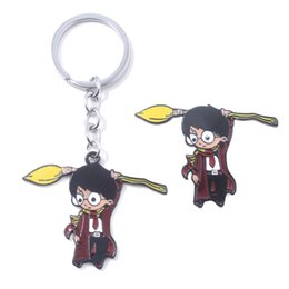 Western ornaments online shopping - Harry Wizardry Broomstick Harry Keychain Brooch Cartoon Boy Ornament Broomstick Pin Pendant Man Car Woman Bag Gift L212