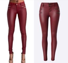 $enCountryForm.capitalKeyWord NZ - Low Waist PU Leather Pants Women Double Zipper Skinny Jeans Femme High Stretch Push Up Pants Feminino Wine Red Pantalon Femme