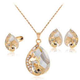 Peacock Studs UK - Gold Plated Bridal Jewelry Set Luxury Rhinestone Water Drop Pendant Necklace Stud Earrrings Ring Crystal Peacock Jewelry Set