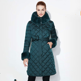 Wholesale plus size down quilted jackets resale online - Snow Classic Women Jacket Coat Fur Winter Long Parka Woman Quilted Coat Female Warm Outwear Plus Size Down Overcoat Fashion
