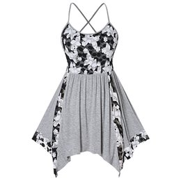 $enCountryForm.capitalKeyWord UK - Wipalo Floral Lace Insert Plus Size Tank Top Criss Cross Handkerchief Asymmetrical Summer Tank Tops Sleeveless Women Clothes Y19042801