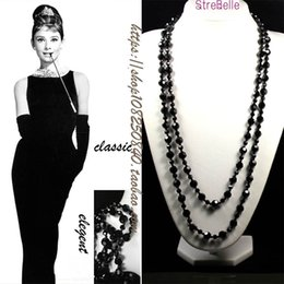 Glass Beaded Jewellery Australia - New Arrived Two Layers Long Necklace Easy Match Classical Black Crystal Beads Necklace Women Jewellery Statement Necklace J190523