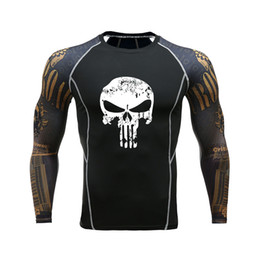 $enCountryForm.capitalKeyWord Australia - Hot Punisher 3D Print Compression Tights Mens Fitness Running T Shirt Breathable Long Sleeve Sport Rashgard Gym Cycling Clothing
