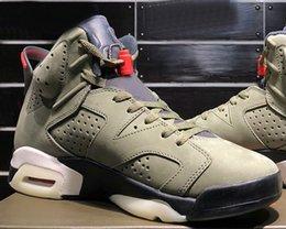 $enCountryForm.capitalKeyWord Australia - New product Travis Scott x 6 Cactus Jack Medium Olive GLOW IN THE DARK Army Green Suede 3M 006 Basketball Shoes Sports CN1084-200 with box