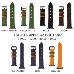 iwatch straps Australia - Watchband For Apple Watch Band 44MM 40MM 42MM 38MM Trend New Contrast Color Leather Strap iWatch Series 5 4 3 2 1 Bracelet