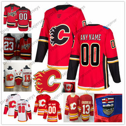 Custom Calgary Flames 2019 Red Third Vintage White Jersey Any Number Name  men women youth kid Gaudreau Monahan Tkachuk Iginla Neal Giordano 847f8d849