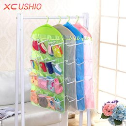 eco mount 2020 - Wholesale- 16 Pockets Polyester Hanging Storage Bag Door Wall Mounted Hanging Storage Organizer Underwear Sock Cosmetic