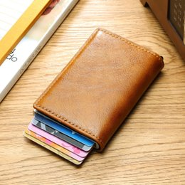 $enCountryForm.capitalKeyWord Australia - Men Aluminum Wallet With Back Pocket Id Card Holder Rfid Blocking Metal Wallet Automatic Pop Up Credit Card Coin Leather Purse