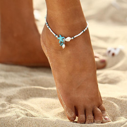 Anklets peArls online shopping - Boho Freshwater Pearl Charm Anklets Women Barefoot Sandals Beads Ankle Bracelet Summer Beach Starfish Beaded Anklets TTA1416
