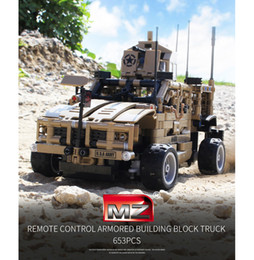 $enCountryForm.capitalKeyWord NZ - 653 PCS DIY Building Block Remote Control Military Vehicle 2.4G Four Channels RC Car Cool Gifts for Kids
