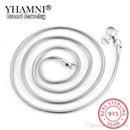 925 snake chain 3mm Canada - YHAMNI 3MM 4MM Original 925 Silver Snake Chain Necklaces for Woman Men 16-24 inch Statement Necklaces Wedding Jewelry N193-3 4
