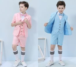 $enCountryForm.capitalKeyWord Australia - Three-piece Short Sleeve And Pants Blue White Summer Boys Formal Party Wear Clothing Set Children Prom Performance Costume Tuxedos