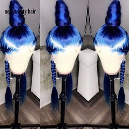 Long Light bLue cospLay wig online shopping - Stock simulation human hair lace wig Perruque Frontal Full blue color wig Long straight synthetic Lace Front Cosplay Wig For Women