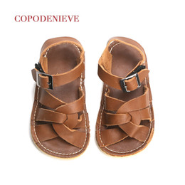 Brown Toddler Sandals NZ - Copodenieve New Summer Children Genuine Leather Sandals Hollow Out Girls Sandals Wear-resistant Kids Footwear Baby Toddler Y19061906