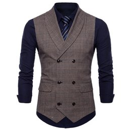 Plaid wool hot online shopping - 2019 Custom Made Hot Sell Groom British Vests Single Breasted Double Breasted Mens Plaid Vests Slim Casual Wedding Party Bridesgroom Vest
