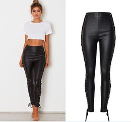 ladies black leather trousers UK - Women's Sexy Side lace up Faux Leather Stretch Skinny Pants Lady Black coated High Waisted PU Jeans Trousers