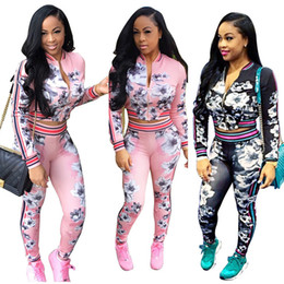 pink jogging suits for women NZ - HTS169 Pink Best Reselling Sexy Autumn Warm Long Cardigan Sports Suit Woman Hoodies Sets Printed Tops Print Tracksuit for Jogging Clothes