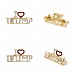 Pins china online shopping - I love trump Brooch pins rhinestone letter glitter brooches women fashion heart pins party favor gifts