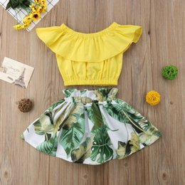 polyester table skirting Australia - Kids Baby Girls Sleeveless Ruffles Tops + Maxi Skirt Dress Outfits Clothes Set