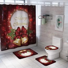 Frohe Weihnachten Frohes Neues Jahr Weihnachtsmann Weihnachtswasserdichte Vorhänge für Badezimmer + Pedestal Teppich Deckel Toiletten-Abdeckung Badmatte Set im Angebot