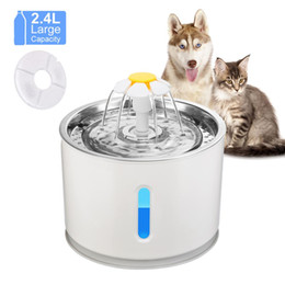 water feeders Australia - 2019 NWE Pet feeder Automatic Cat Fountain Pet Drinking Water Dispenser Electric LED Dog Drinking Fountain Cat Feeder Drink Filter