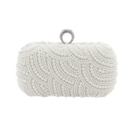 Bags Hand Making Australia - The Hand made Luxury Pearl Clutch bags Women Purse Diamond Chain white Evening Bags for Party Wedding black Bolsa Feminina #227119