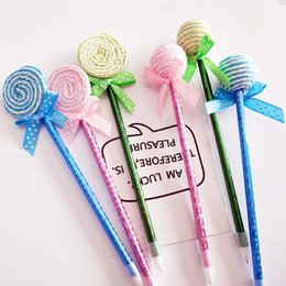 color ball point pens 2019 - 24Pcs Creative Plastic Kawaii Pens Candy Color Shape Ball Point Lollipop Pen Cute Kids Birthday Back to School Party Gif