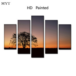 Cheap Wall Canvas Prints Australia - Cheap HD Printed 5 Pieces High Quality Large size Canvas painting sunset Outskirts scenery Wall Arts pictures Home Decor no framed