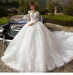 princess scoop prom dresses Australia - 2019 Luxury Ball Gown V Neck Wedding Dresses Fashion Scoop Long Sleeve Palace Royal Train Princess Bridal Gown Vestido de Noiva wedding Gown