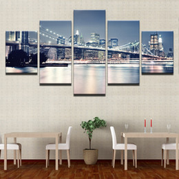 $enCountryForm.capitalKeyWord Australia - Canvas Paintings Living Room Decor Prints Posters 5 Pieces Beautiful Brooklyn Bridge City Night View Pictures Wall Art No Frame