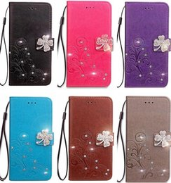 motorola flip phones 2019 - Bling Diamond Case For Iphone XS MAX XR X 8 7 6 Galaxy S10 Note9 S9 S8 Lucky Clover Flower Leather Wallet Flip Cover Lux