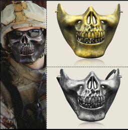 skull warrior mask half face 2019 - CS Mask Carnival Gift Scary Skull Skeleton Paintball Lower Half Face facemask warriors Protective Mask For Halloween Par