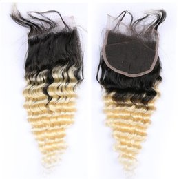 dark roots blonde closure Australia - Dark Roots Deep Wave Curly Hair Lace Closure Blonde Ombre Lace Closure 4x4 Three Part Peruvian Virgin Hair Extensions