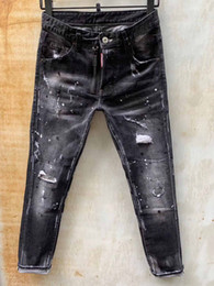 Wholesale tight light blue men resale online – designer 22 Style mens designer jeans Man Ripped Denim Tearing Jeans blue Cotton fashion Tight spring autumn Men s pants A7912