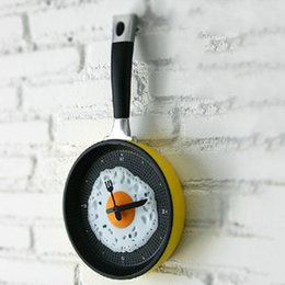 pan fried eggs NZ - Originality Gift Fried Eggs Pan Modeling Clock Home Furnishing A Living Room Restaurant Decoration Wall Clock Children Time Music Pot Clock