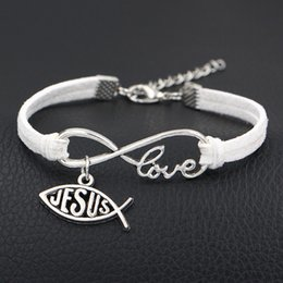 Christian Leather Bracelets For Men NZ - White Leather Suede Jewelry For Women Men Silver Color Infinity Love Fish Jesus Christian Charm Bracelets & Bangles Fashion Geometric Gifts