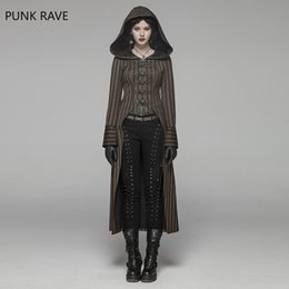 rock costumes Australia - Punk Rave Women Steampunk Jackets Coffee Striped Belt Lace Up Decration Punk Rock Stage Performance Costume Women Trench Coat