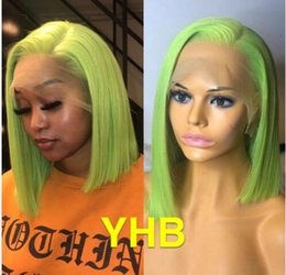 Long Colored Hair Australia - Apple green glueless lace front wig short bob style 100 human hair colored full lace wigs glueless wig for black women free shipping
