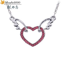 crystal for women Australia - Fashion women Angel wings necklace crystal heart pendant necklaces for women Multicolor crystal fashion jewelry necklaces