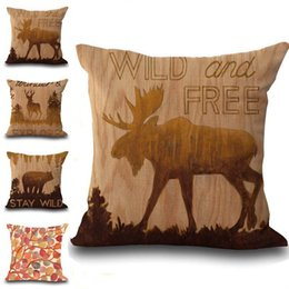 Discount print cushion deer - Wild and Free Animal Deer Bear Pillow Case Cushion Cover Pillowcase Cover Square linen cotton soft pillowslip beddng set