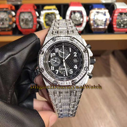 Luxury swiss diamond watches online shopping - 46mm Luxry OFFSHORE BC ZZ BC Black Dial Diamond Bezel Swiss Quartz Chronograph Multifunction Mens Watch L Steel Diamond Band