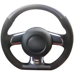 Audi Tt Carbon Fiber NZ - Carbon Fiber Leather Black Suede Car Steering Wheel Cover for Audi TT 2008-2013
