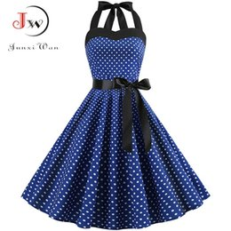 EmpirE pin online shopping - Sexy Halter Party Dress Retro Polka Dot Hepburn Vintage s s Pin Up Rockabilly Dresses Robe Plus Size Elegant Midi Dress