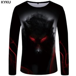 $enCountryForm.capitalKeyWord Australia - KYKU Brand Wolf T shirt Men Long sleeve shirt Eye Graphic Blood Printed Tshirt Black Cool Vintage Japan Hip hop Mens Clothing