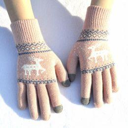 $enCountryForm.capitalKeyWord Australia - 2019 Vintage Christmas Deer Knitted Gloves Women Thicken Touch Screen Gloves 6 Styles Winter Warm Snow Elk Full Finger Mittens Gift H918Q F