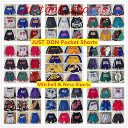 Wholesale men just shorts for sale – plus size Stitched Mens Basketball Just Don Pocket nba Shorts Hip hop All City Teams Name Year Id Tags Mitchell Ness Sweatpants Sport Big Face